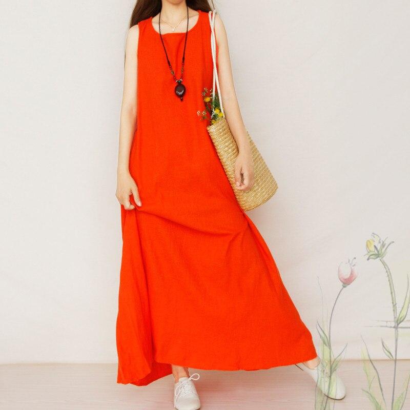 Boho Maxi Sleeveless Cotton Linen Tank Loose Leisure Summer Dress Vintage Elegant Vestido Dresses Lady Retro Robe Femme TT2610