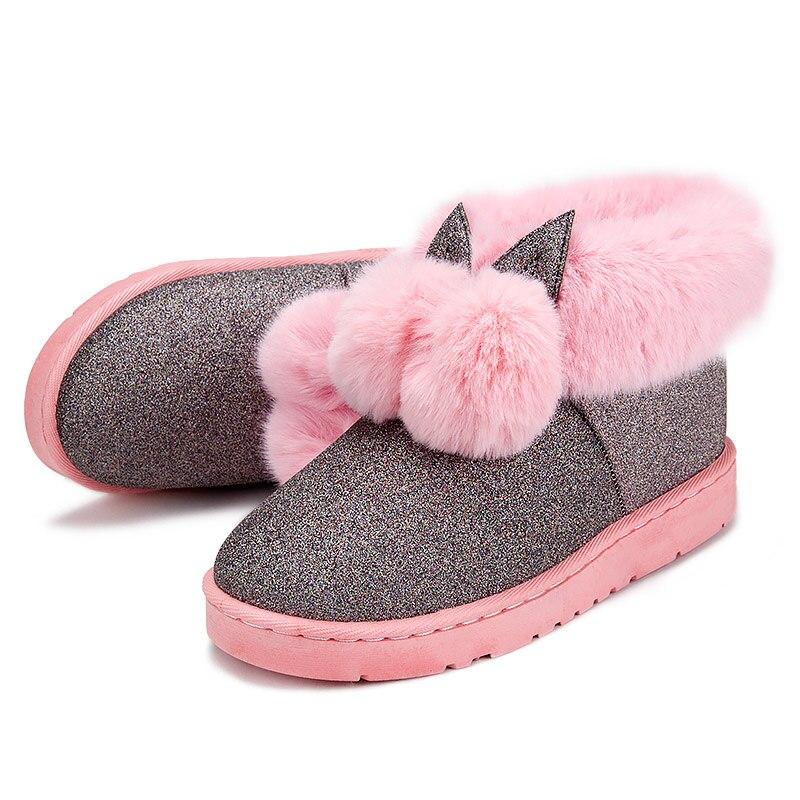 Mujer Conejo Nieve Botas Invierno Nuevo Tamaño Plus Pie 2018 Zapatos Tobillo Mujeres pink Black Oreja grey Dedo Redondo Diseño De Del 584wqWxg