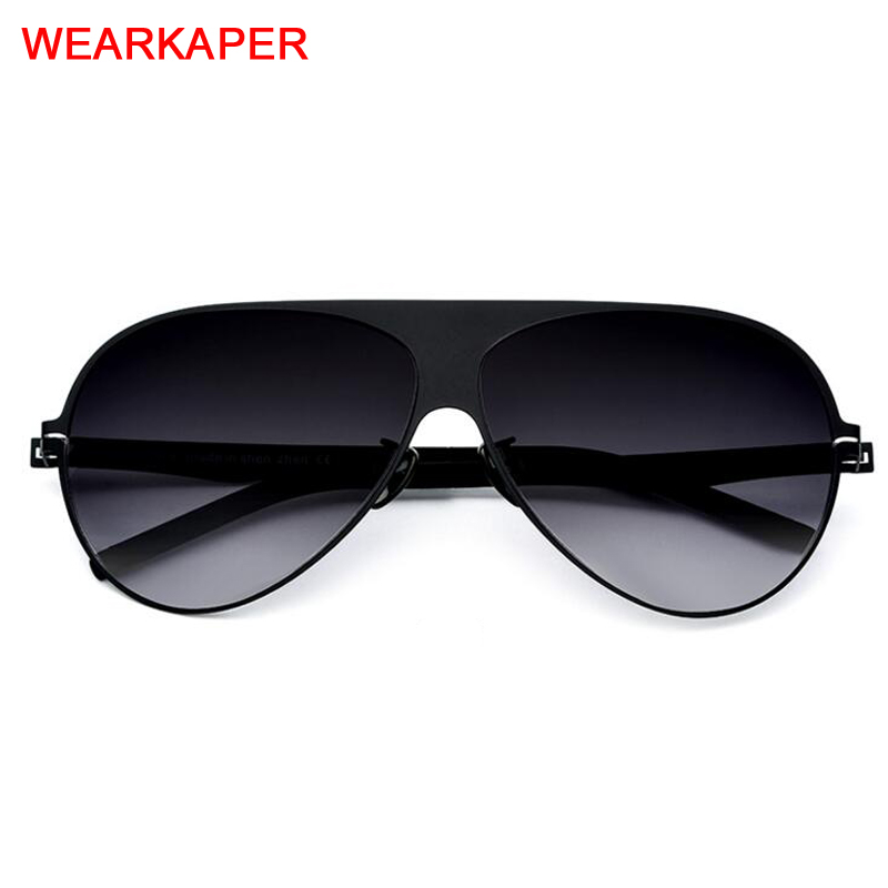 2019 Screwless Aviation Polarized Sunglasses Men High Quality Brand Designer Big Oversize  Eyewear Sun Glasses For Men