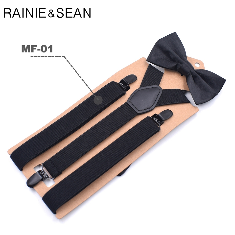 RAINIE SEAN Mens Suspenders Bow Tie Solid Black Unisex Y Back Adult Trousers Braces For Men Women Wedding Bowtie Suspender Set in Men 39 s Suspenders from Apparel Accessories