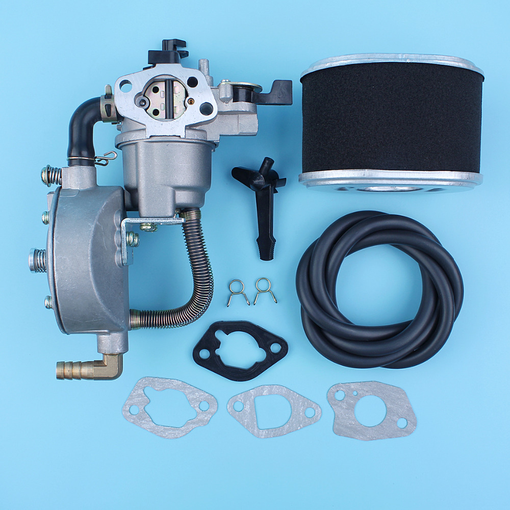 Dual Fuel Carburetor Conversion Kit Air Filter Fuel Line For Honda GX160 5.5HP 168F GX200 170F 6.5HP Water Pump Engines LPG/CNG new design jiwannian lpg&cng carburetor three way conversion kit for gx160 gx200 engine petrol & liquefield dual fuel carburetor page 4