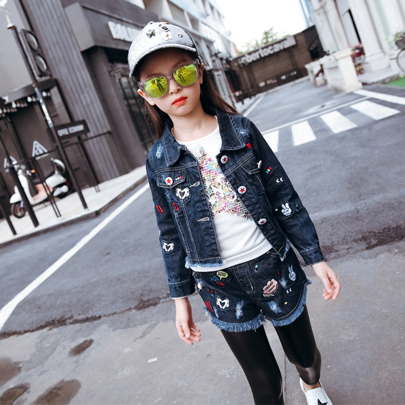 Children's New Autumn Girls Cowboy Suits Denim Baby Denim Jacket-shorts Two Pieces Kids Clothing Sets Blue Cartoon Printing серьги patricia bruni серьги
