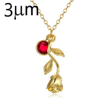 3UM Rose Flower Necklace gold color Personalized custom Birthstone charm Necklace Final Rose Beauty and the Beast Jewelry Women(China)