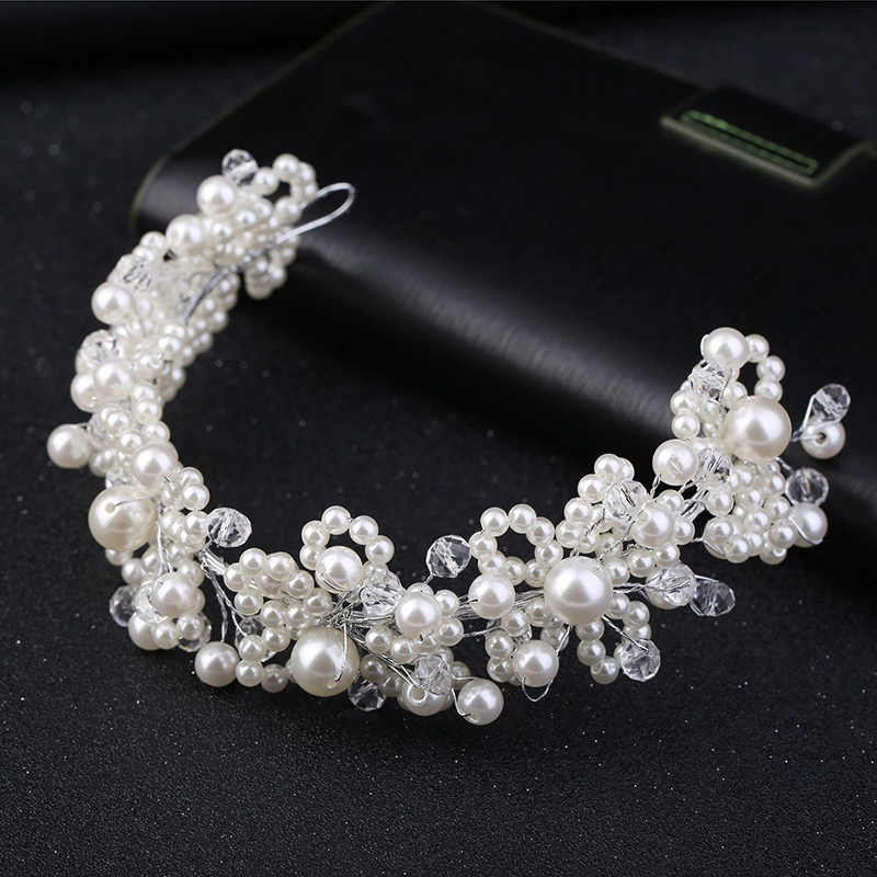 Accessoires de cheveux de mariage accessoires de cheveux de perle perle bijoux de cheveux bandeau de diadème pour les mariées pièce de tête coiffure femmes ornements