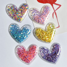 12pcs/lot 5*4.5cm Heart Transparent Bling bling Star Flowing Patches Appliques for Children clip and DIY Hair Clip Accessories