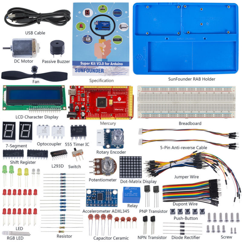 SunFounder Project Super Starter Kit V3.0 Wiht Mercury Board and Tutorial Book for Arduino UNO R3 Mega 2560