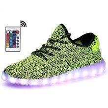 Remote Mens USB Charging LED Green Light Up Shoes LED Slipper Boy&Girl Luminous Sneakers Glowing Sports in Night Sneakers Women цена в Москве и Питере