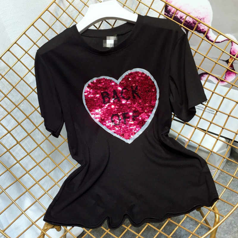 21af93af1 ... Creative Girls Graffiti Reversible Sequins Letters beads shirts magical  color changing sequins Tees T-shirt ...