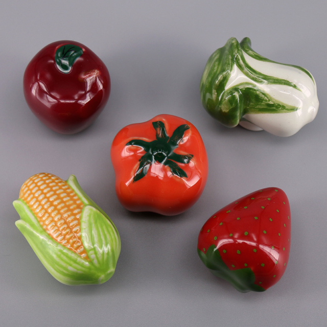 5pcs Cartoon Fruit Vegetable Ceramic Cabinet Door Kitchen Cupboard Kid S Room Furniture Wardrobe Drawer Pull Handle