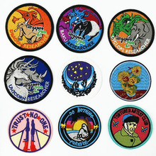 Circular Big Animal Repair Badge Patch Embroidered Patches For Clothing Iron On Close Shoes Bags Badges Embroidery DIY