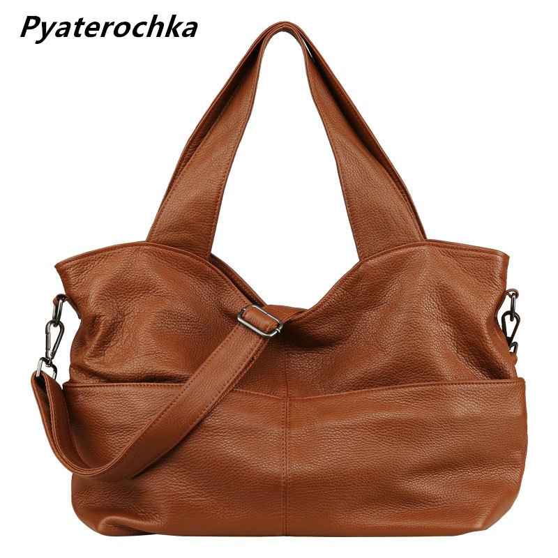 Pyaterochka Genuine Leather Handbag Women Big Shoulder Bag Luxury High Quality Casual Tote Large Capacity Solid Thread Hand Bags 2018 quality assurance luxury genuine leather shoulder bag casual tote women handbag vintage hobo large capacity strap hand bag