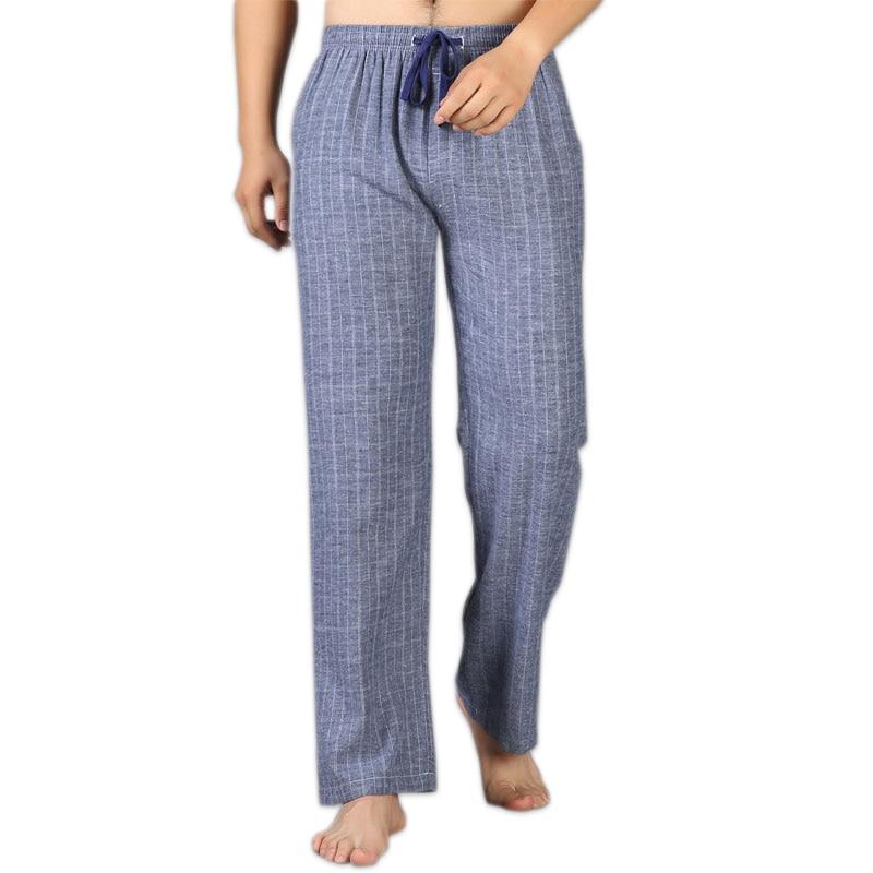 Varm försäljning Tjockare vinter 100% bomulls sömnbottar män håller varmen enkel Plus Size höst pyjamas hembyxor män inomhus byxor