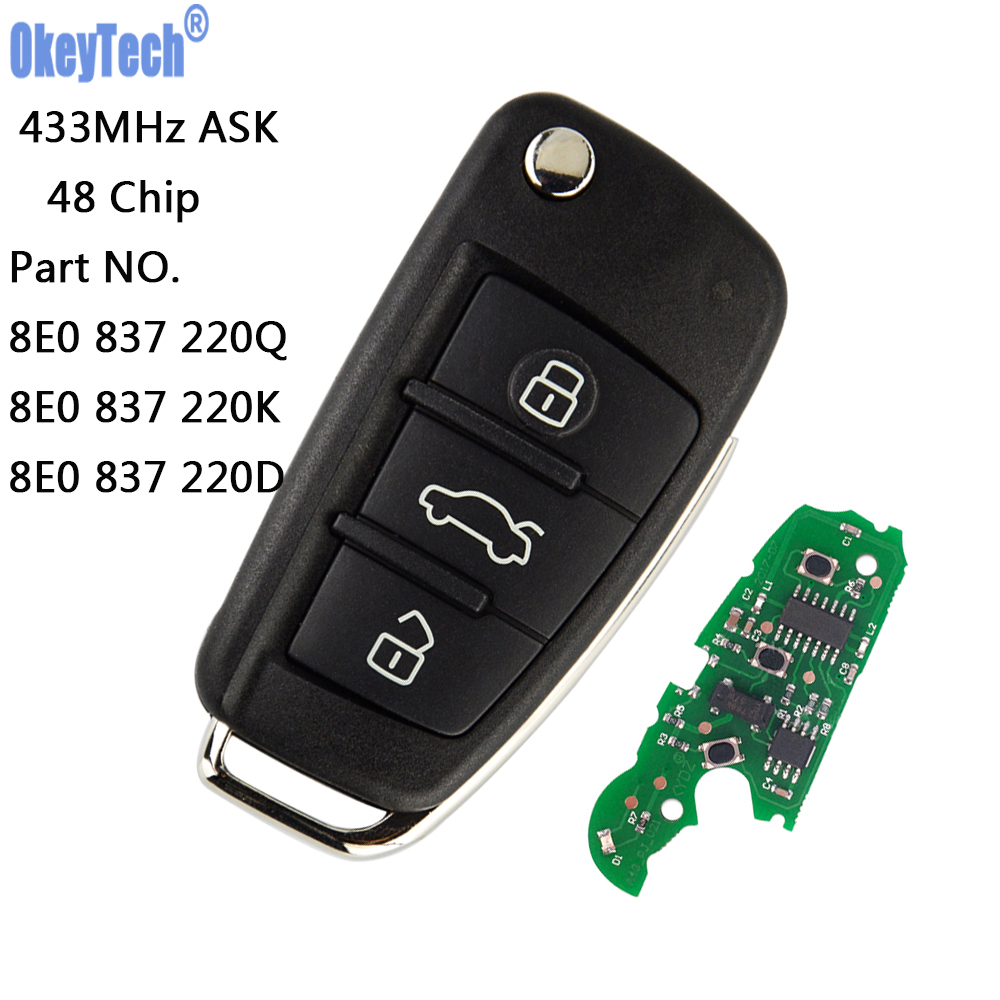 OkeyTech Remote Car Flip Key 433MHz With 48 Chip Fob for AUDI A2 A4 S4 Cabrio