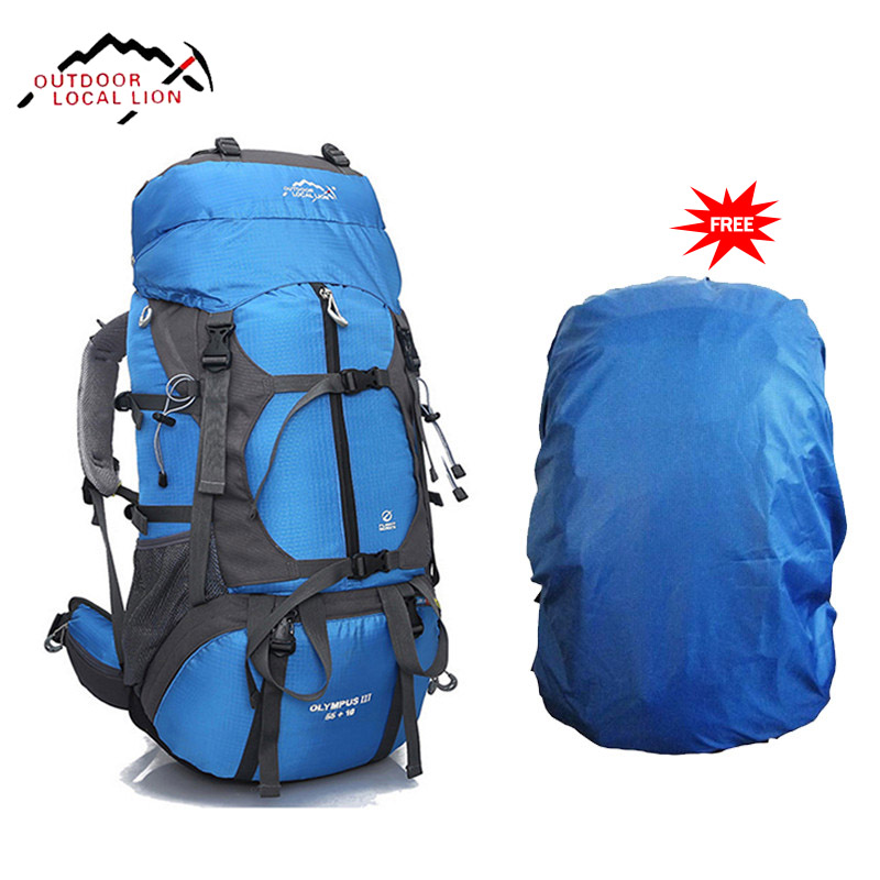 LOCAL LION Mountainterring Bag Backpack Men Mountain Climbing Backpack Rucksack Waterproof Outdoor Sports Bag For Climbing 65L