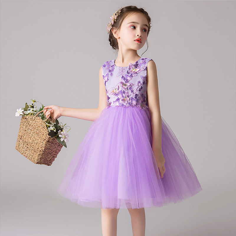It's YiiYa Kids Flower Girl Dresses For Wedding Blue Purple Tank Ball Gown Lace Flower Takedown Bow Comunion Dress 2019 BX2805