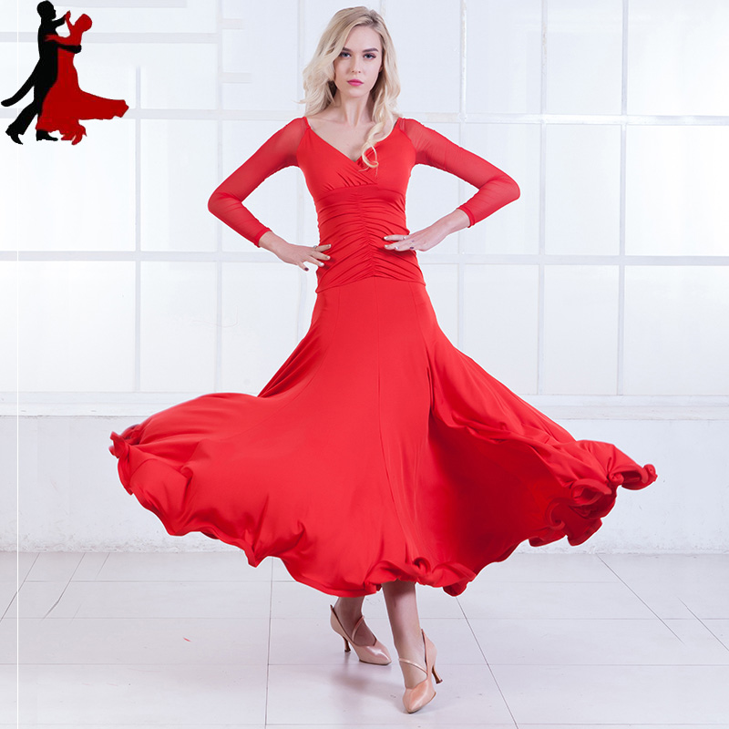 new sexy fashion waltz long sleeve dress modern ballroom national standard dance clothing women freeshipping hot sale