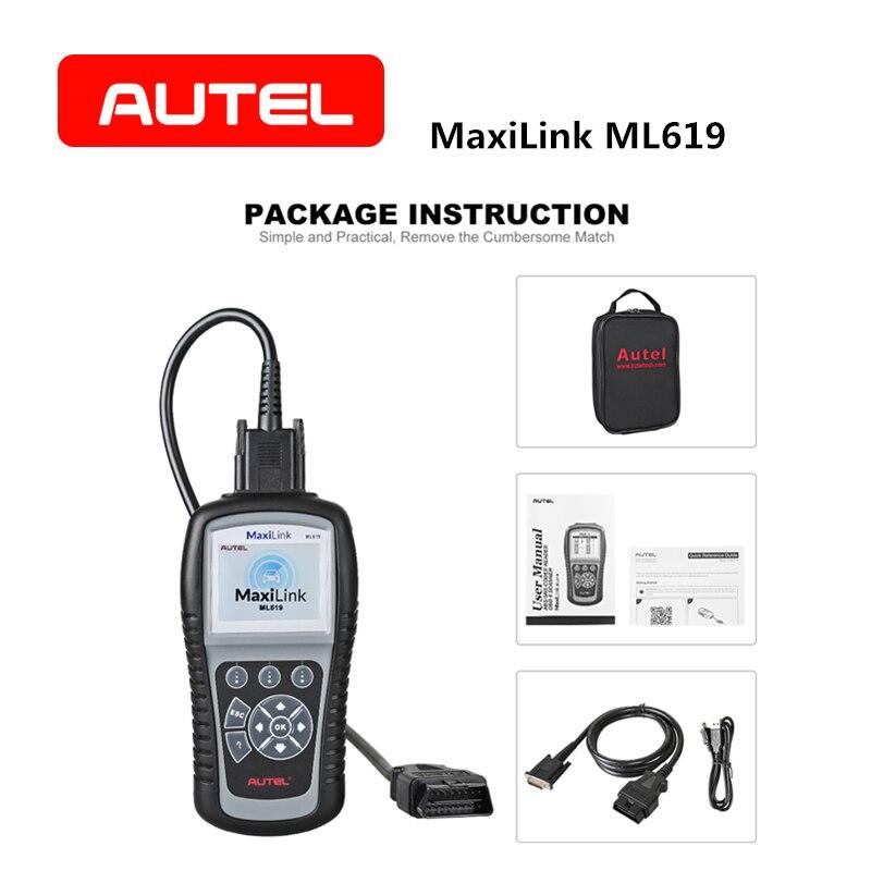 AUTEL Autolink ML619 OBD2 Scanner PEUT SRS ABS AirBag Automobile Outil De Diagnostic EOBD OBDII Lecteur de Code Clair De Voiture Accessoires