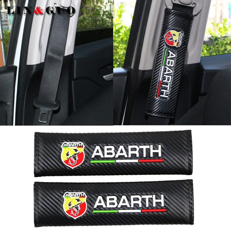 2PCS Car carbon fiber Safety Belt embroidery pattern covers seat belt case for fiat punto abarth 500 stilo ducato palio bravo стоимость