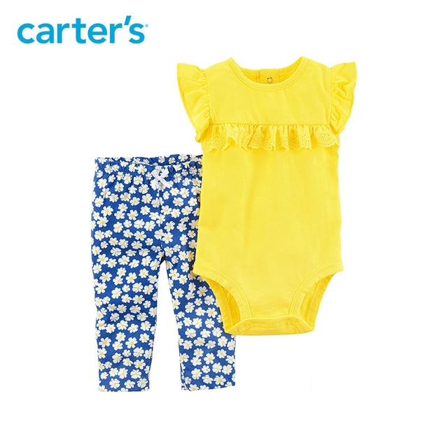 9710c2a7b Carter's 2-Piece baby children kids clothing Girl Summer Lace ruffle detail  Flutter sleeves Bodysuit Pant Set 121I098