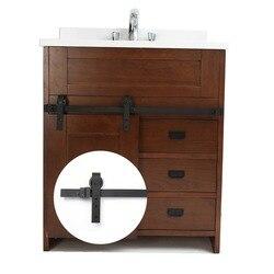 3,3 футов Настоящее мини-оборудование для раздвижной двери сарая черная углеродистая сталь система раздвижных дверей для кухни ванной комна...
