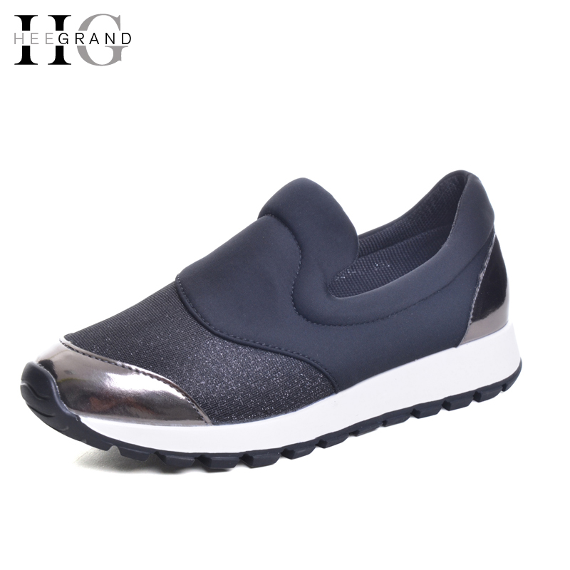 HEE GRAND Women Casual Shoes For Spring Slip On Loafters Glitter Patchwork Platform Shoes Woman 2017 New Flats Ladies XWD5307 hot sale 2016 new fashion spring women flats black shoes ladies pointed toe slip on flat women s shoes size 33 43