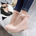 2016 new fashion sweet bowknot princess shoes slope documentary high-heeled shoes lighter large size 42 43 women's shoes wedge