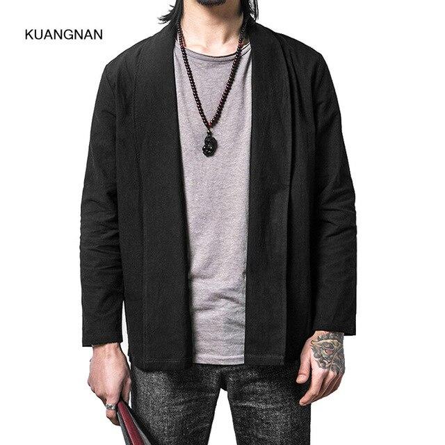 Masculin Veste Style Uni Manteau Coton Kimono Lâche Survêtement Décontracté Couleur Hommes Mode Lin Cardigan Chine dXwaqP1Xx