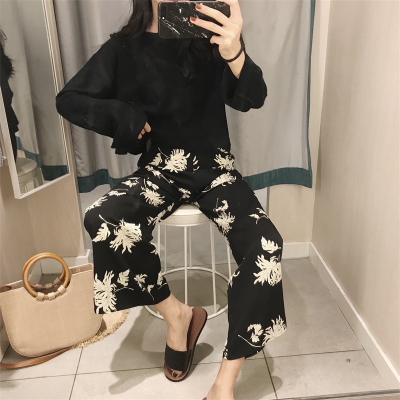 Mazefeng 2018 New Spring Female Print   Wide     Leg     Pants   Women Loose Style   Pants   Ladies High Quality Casual Straight   Pants   Female
