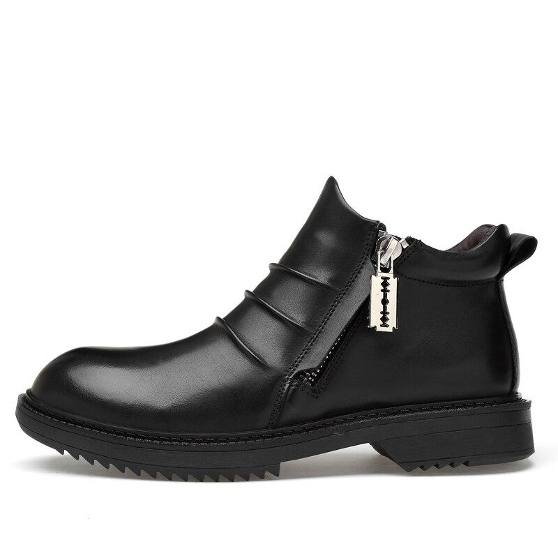 Ayakk.'ten Basic Çizmeler'de Tam Tahıl Deri Erkek Kışlık Botlar Artı Boyutu El Yapımı Sıcak Erkekler Kış Ayakkabı Erkekler Moda Ayak Bileği Kar Botları Dropshipping'da  Grup 2