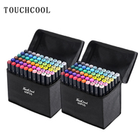 Touchcool Marker Pen Set 30/40/60/80/168 Color Sketch Marker Dual Tip Drawing Art Brush Pens Alcohol Based with 4 Gifts