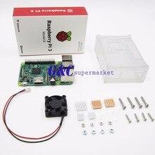 for Raspberry pi 3 diy kit+ for Raspberry pi 3 transparent acrylic Case Box + mini cooling fan+ 5 pcs Aluminum Radiator