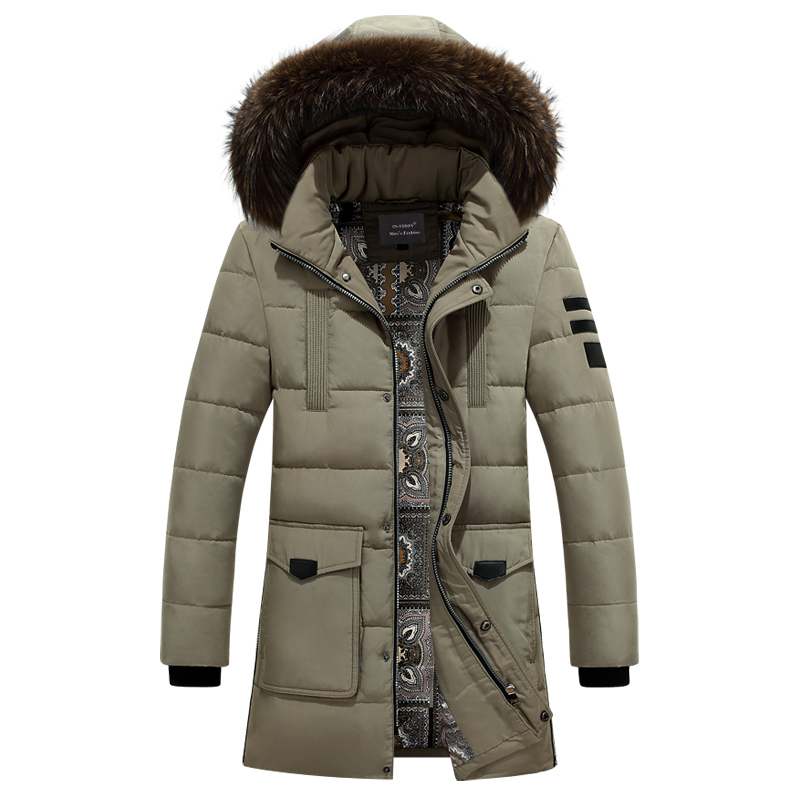 2016 Winter Keep Warm Medium Long Down Coat White Duck Down Long Jacket Coat Mens Casual Down Jacket fur collar hooded coat