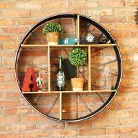 Industrial style wine holder wall Vintage round metal wall shelf restaurant Decor bar wall Pendant