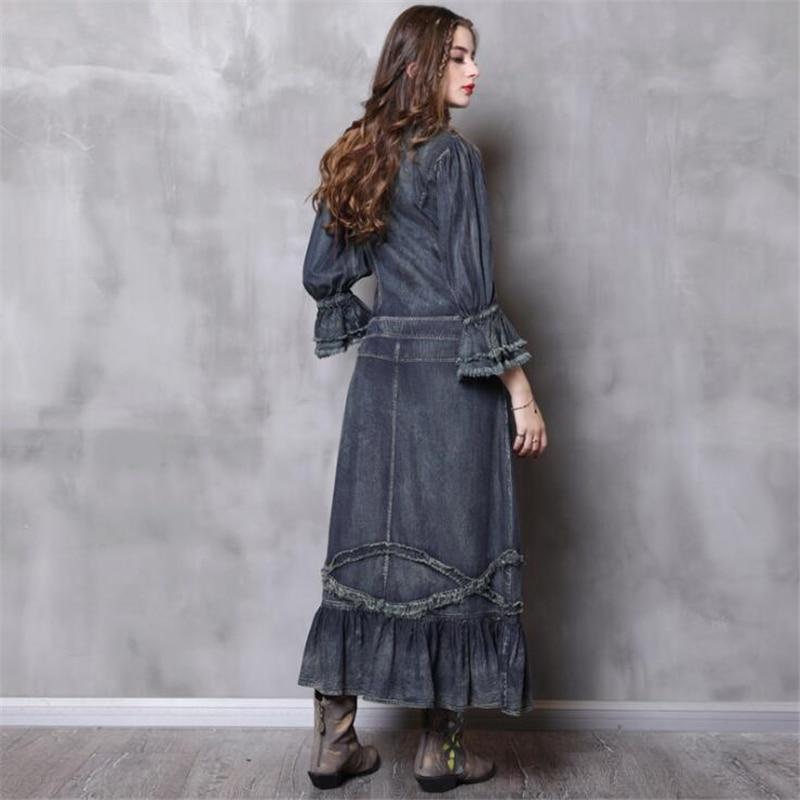 new autumn women denim dresses flare sleeves Vintage High waist ruffle dresses plus sizes Standing collar solid denim dresses-in Dresses from Women's Clothing    2