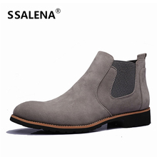Men Slip-On Leather Shoes Male Comfortable Working Boots Men Round Toe Fashion Motorcycle Retro Style Boots AA51597