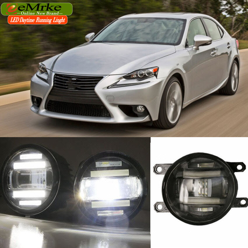 eeMrke For Lexus IS250 IS350 2014-up Xenon White High Power 2 in 1 LED DRL Projector Fog Lamp With Lens eemrke xenon white high power 2 in 1 led drl projector fog lamp with lens daytime running lights for renault kangoo 2 2008 2015