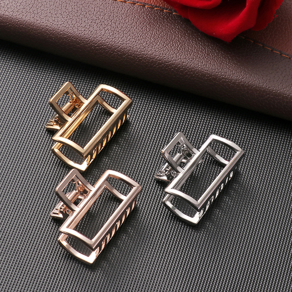 Hair-Clip Buckles Claw Metal-Hair Retro Modern Stylish Rose-Gold Girl Women Square Geometric