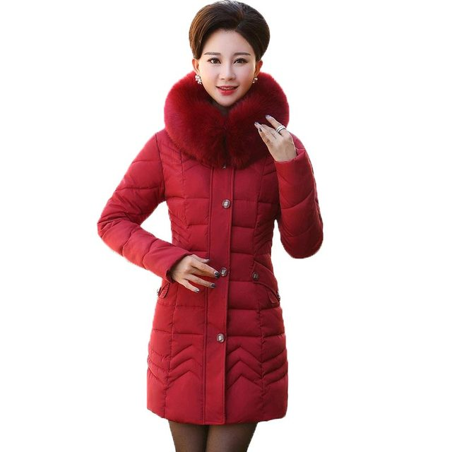 2016 Middle Age Women Wadded Jacket Winter Jackets and Coats Outwear Hooded Fur Collar Down Cotton Coat Thick Slim Parkas PW0804