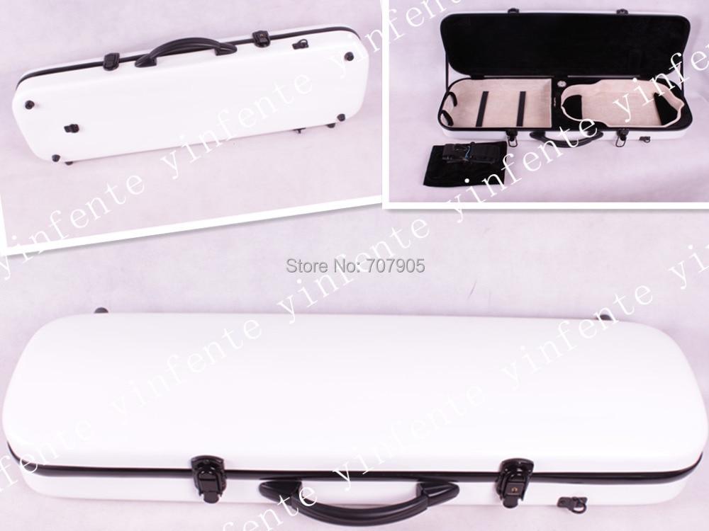 ФОТО white     color    4/4 Violin case Glass Fiber Soft Imitate Leather Pink White Black #001