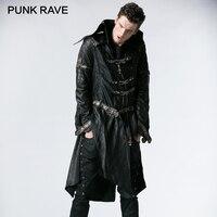 PUNK RAVE Unikalne Modny Punk Rock Heavy PU Skóra Parka Trench z Czaszki Dekoracji Gotycki Krzyż Płaszcze Kurtki Zimowe