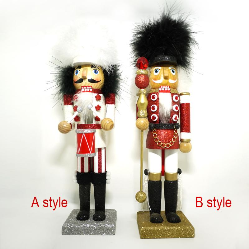HT103 Movable doll puppets 36CM fine shiny feather hat marching band Nutcracker Action & Toy children Christmas birthday gift ht025 free shipping movable doll puppets 13cm hardcover box painted walnut wooden nutcracker children christmas toy 2pcs lot
