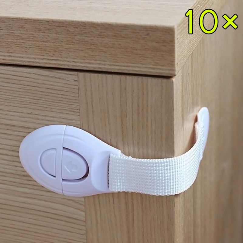 10 Pcs Drawers Cabinet Door Refrigerator Lengthened Bendy Safety Plastic Locks For Child Kid Baby WWO66