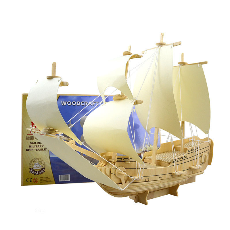 3D Puzzles Assembly DIY Education Toy 3D Wooden Model Puzzle Blue Dream Ship Sailing Boat
