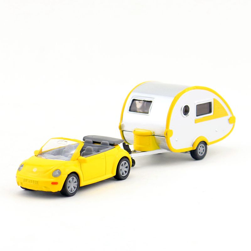 SIKU 1629/DieCast Metal Model/Volkswagen Beetle Car With Trailer/Educational Toy Car For Children's Gift/Collection/Small