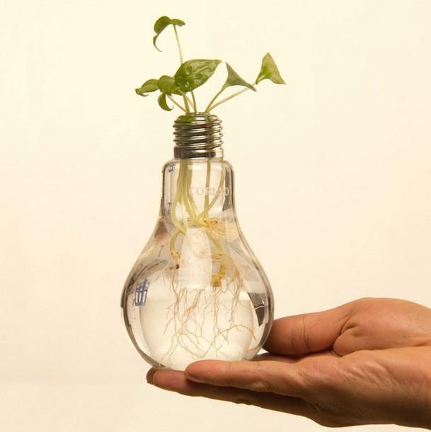 Creative Table Glass Vase Light Bulb Transparent Hydroponic Bottle