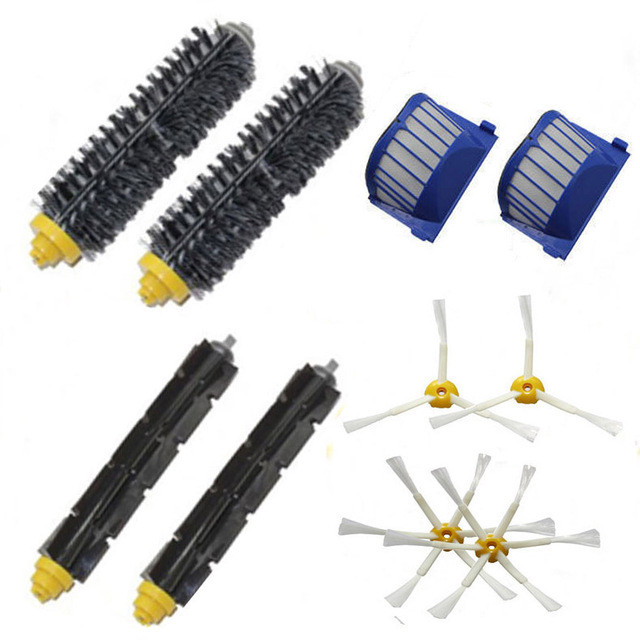 2*  Bristle +2* Flexible Beater+ 4*  Side brush + 2*  Aero Vac Filter for iRobot Roomba 600 620 630 650 660 Replacement parts aero vac filter bristle brush flexible beater brush 3 armed side brush tool for irobot roomba 600 series 620 630 650 660