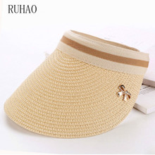 RUHAO summer hats for beach women Bow Empty Hat Straw  sun shade wide brim hat Female Korean Summer Vacation Sun