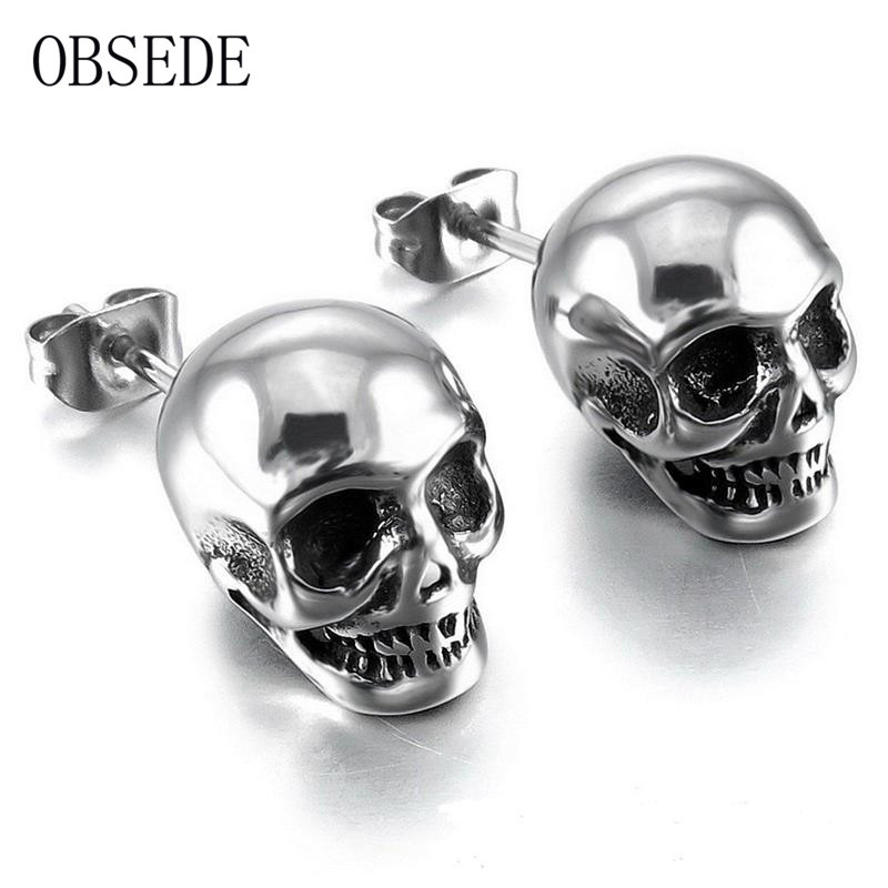 OBSEDE Punk Skull Earrings for Men Boys Cool Silver Jewelry Hip-hop Stud Earrings Vintage Rock Skeleton Earrings