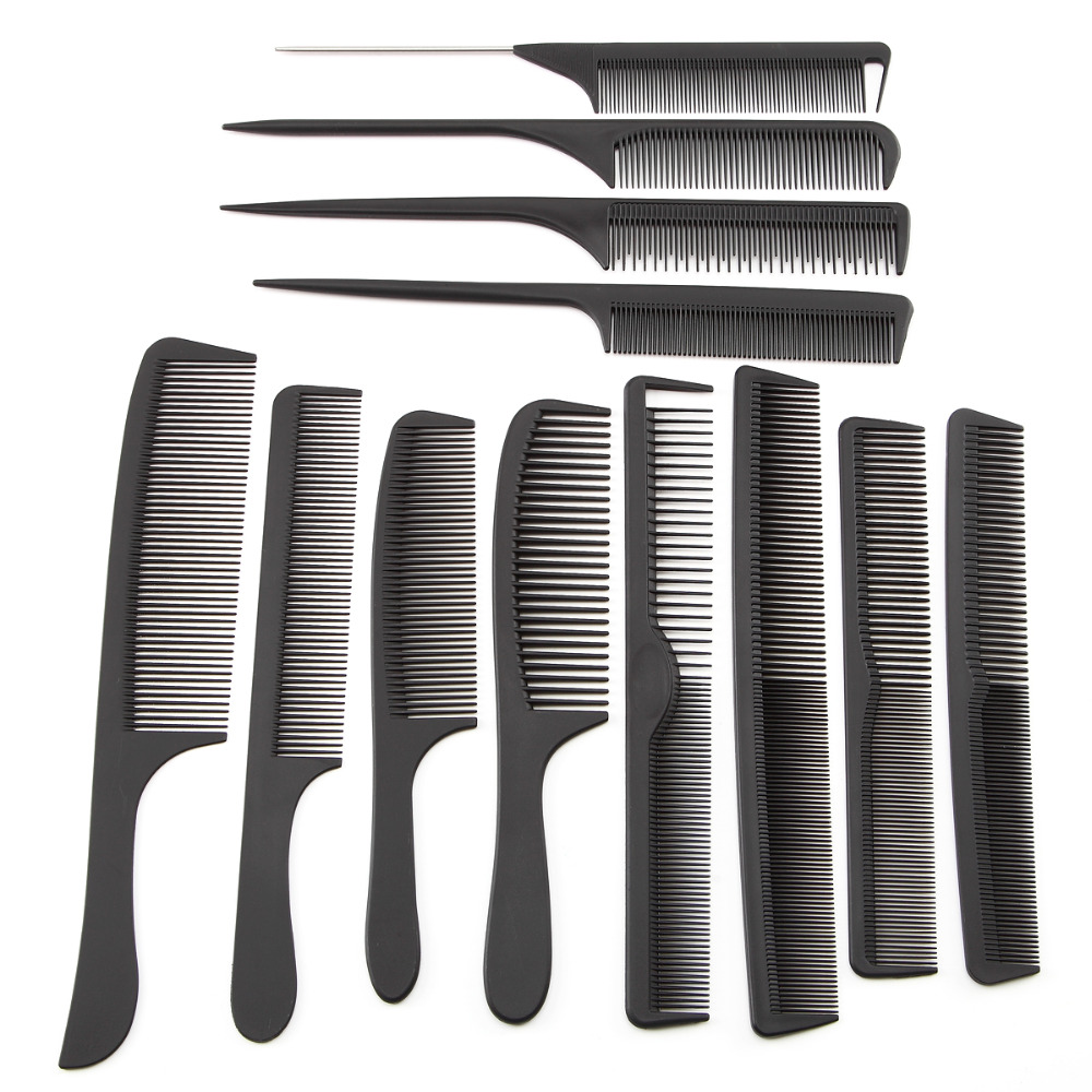 12pcs/set Professional Hair Brush Comb Salon Barber Anti-static Hair Combs Hairbrush Hairdressing Combs Hair Care Styling Tools 1pc black natural sandalwood wood brush healthy care massage hair combs antistatic detangling airbag hairbrush hair styling tool