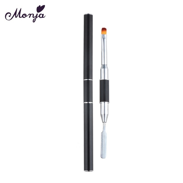 Monja Dual Head Nail Art Acrylic UV Poly GEL Extension Builder Drawing Pen Brush Poly Gel Removal Spatula Stick Manicure Tool 2